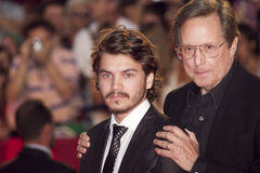 Director William Friedkin and Emile Hirsch. VENICE, ITALY - SEPTEMBER 08: Director William Friedkin and Emile Hirsch  attend the 'Killer Joe' premiere during the Stock Images