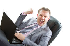 Director works laptop cry Royalty Free Stock Photo