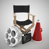 Directors chair and cinema concept. 3d high quality render Stock Photos