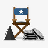 Directors chair cinema and movie design. Directors chair icon. Cinema movie video film and entertainment theme. Colorful design. Vector illustration Royalty Free Stock Images