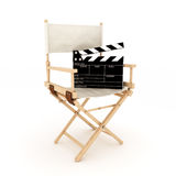 Directors chair with clapper Stock Photos