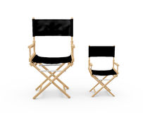 Directors Chairs. Front view of directors chairs in film industry, small and big difference, isolated on white background Royalty Free Stock Photo