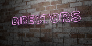 DIRECTORS - Glowing Neon Sign on stonework wall - 3D rendered royalty free stock illustration. Can be used for online banner ads and direct mailers Stock Photography