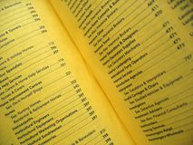 Directory. Open yellow pages telephone book stock photos