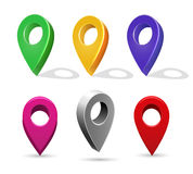 Directory 3d pointer icons. Vector mapping pin location buttons isolated on white background Stock Photos
