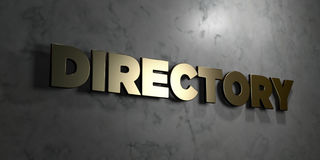 Directory - Gold sign mounted on glossy marble wall  - 3D rendered royalty free stock illustration. This image can be used for an online website banner ad or a Stock Image