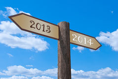 Directory. Signpost, which divides the old and the new year Vector Illustration