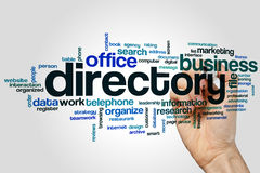 Directory word cloud. Concept on grey background Stock Photography