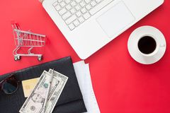 Directry Above Of Workspace With Laptop Computer, Money And Cred Royalty Free Stock Image