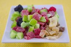 Dired kiwi, magoes, bananas, raisins, berries Royalty Free Stock Photography