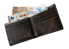 Direkt über Schuss von lösen Sie Geldbörse auf weißem Hintergrund ein stockfoto