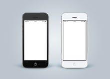 Direkt främre sikt av svartvita smartphones med mellanrumssc royaltyfria foton