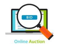 Direktanslutet bjuda symbolen för begrepp för knapp för auktionbärbar datorbud Arkivbilder