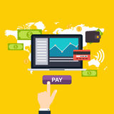 Direktanslutet och mobilt betalningbegrepp Mänskligt trycka på för handfinger Royaltyfri Fotografi