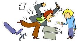 Direktor schreit am Angestellten Stockfotos