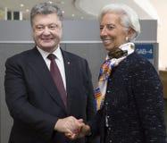 Direktör av den internationella valutafonden Christine Lagarde och Pe Royaltyfri Foto