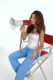 Diretor Com Megaphone 2 da mulher Foto de Stock