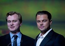 Diretor com sua estrela, Leo di Caprio do início Foto de Stock