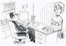 Diretor e pretendente de trabalho ilustração royalty free