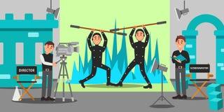 Diretor, guionista e atores trabalhando no filme, industria do ócio, filme que faz a ilustração do vetor
