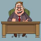 Direttore maschio del fumetto in un vestito dice la seduta alla tavola immagine stock libera da diritti