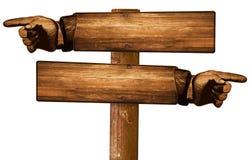 Direzionale d'annata indicante di legno del segno delle dita retro fotografie stock