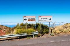 Direzionale firma dentro il parco nazionale Tenerife di Teide Fotografia Stock Libera da Diritti
