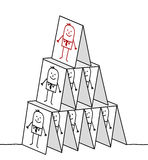 Direzione & piramide delle schede Immagini Stock Libere da Diritti