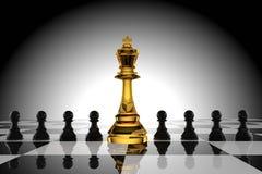 Direzione degli scacchi di vetro di re con il pegno nero nella rappresentazione 3D Fotografia Stock