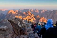 Direzione dei pellegrini giù dal monte Sinai santo, Egitto Fotografie Stock