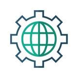 Direzione di affari del communicaton dell'ingranaggio del globo illustrazione di stock