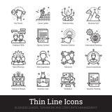 Direzione di affari, lavoro di squadra ed icone della gestione illustrazione di stock