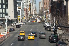 Direzione di traffico di New York dei quartieri alti Immagini Stock