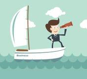 Direzione di visione - uomo d'affari con un cannocchiale su una barca Fotografie Stock
