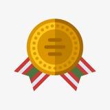 Direzione dorata piana di sport del premio e di vittoria dell'oro del vincitore dell'icona della medaglia del campione del trofeo Immagini Stock