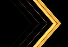 Direzione gialla astratta della freccia sul vettore futuristico moderno del fondo di progettazione nera immagini stock