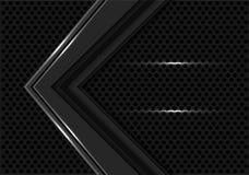 Direzione grigio scuro astratta della freccia sul vettore futuristico moderno del fondo del cerchio di progettazione nera della m fotografia stock