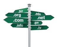 Direzioni del segno dei Domain Name Fotografie Stock