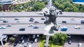 Dirgantara statue also known as Tugu Pancoran Monument on Pancoran junction Royalty Free Stock Photo