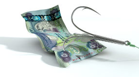 Dirham Banknote Baited Hook Royalty Free Stock Photo