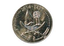 50 Dirham Münze, Bank von Katar Gegenstücck, 2016 Lizenzfreies Stockfoto