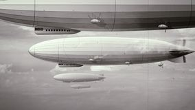 Dirigível enorme legendário do zepelim no céu Stylization retro preto e branco, filme velho ilustração stock