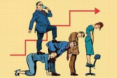 Diriga la carriera di affari sulle parti posteriori dei lavoratori Immagini Stock