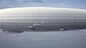 Dirigeable énorme légendaire de zeppelin sur le ciel avec des nuages Ballon stylisé de vol illustration stock