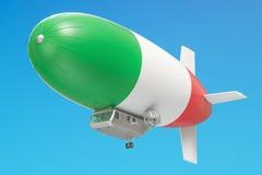 Dirigeable ou dirigeable avec le drapeau italien, rendu 3D Images stock