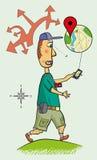 Dirigen al turista en la navegación en el smartphone Imagen de archivo libre de regalías