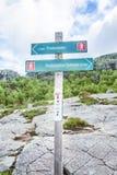 Dirigendo segno verso la roccia di Preikestolen Fotografie Stock Libere da Diritti