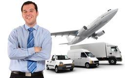 Dirigente felice e logistica dei trasporti Immagini Stock