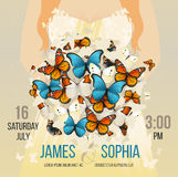 Dirigez épouser la carte inspirée avec le bouquet de papillons de vol Fond romantique de silhouette de jeune mariée de femme Images stock
