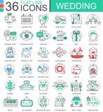 Dirigez épouser la ligne plate icônes d'ensemble pour des apps et le web design Icône de mariage Photos stock